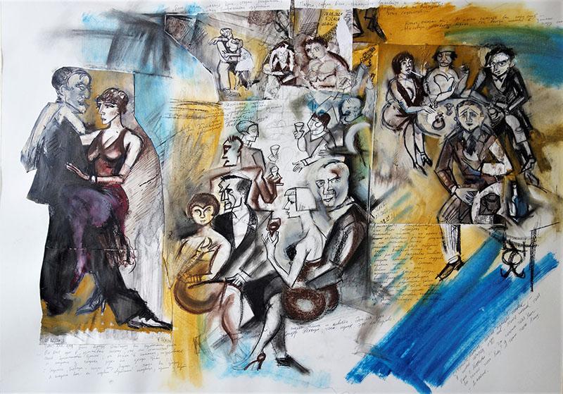 2021, Stift, Kreide, Tusche, Guasche, Öl auf Papier, 59,4x84,1