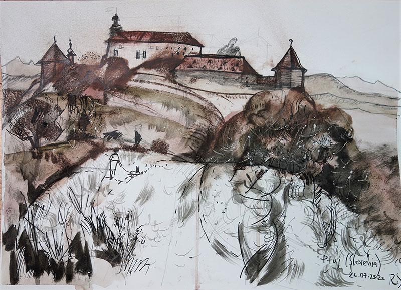 2020, Ptuy, Slovenien.    Stift, Tusche, Kreide auf Papier, 29,4x41,7
