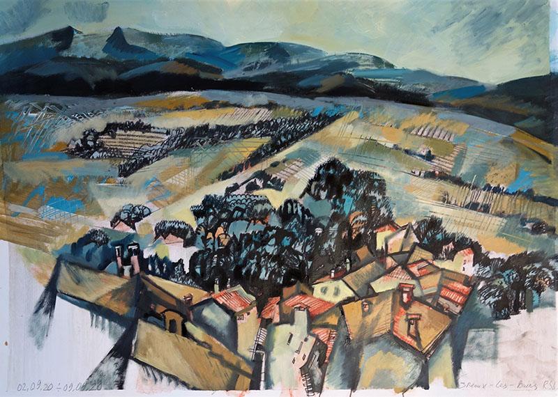 2020, Greax-les-Bains, Frankreich.   Kreide , Öl auf Papier, 42x59,4