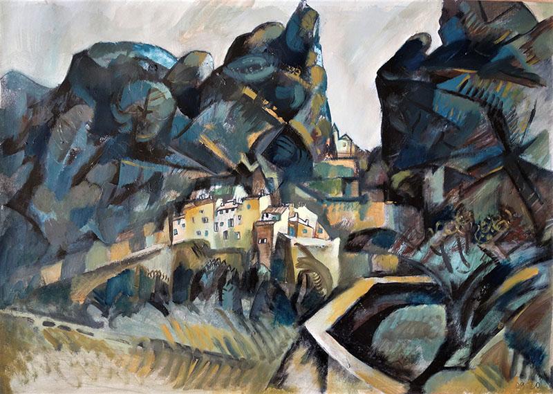 2020, Monstier St.Marie, Frankreich.   Kreide, Öl auf Papier, 42x59,4