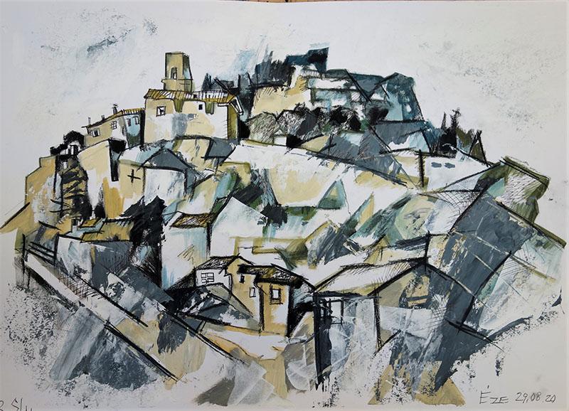 2020, Eze, Frankreich.   Stift,  Kreide, Öl auf Papier, 29,4x41,7