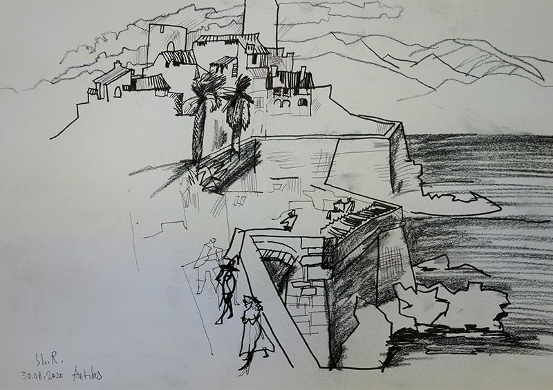 2020, Antibes, Frankreich.   Stift,  Kreide auf Papier, 29,4x41,7