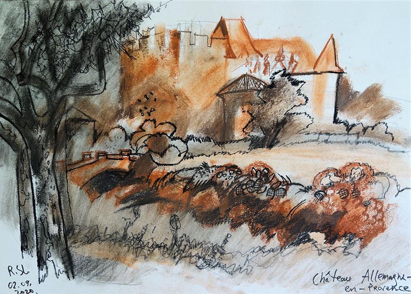 2020, Chateau Allemagne-en-Provence, Frankreich.   Kreide, Röthel auf Papier, 29,4x41,7