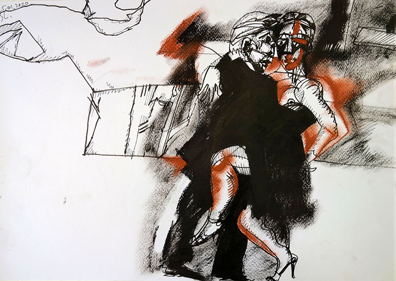 2020, Kreide, Rötel, Stift  auf Papier, 29,7x42