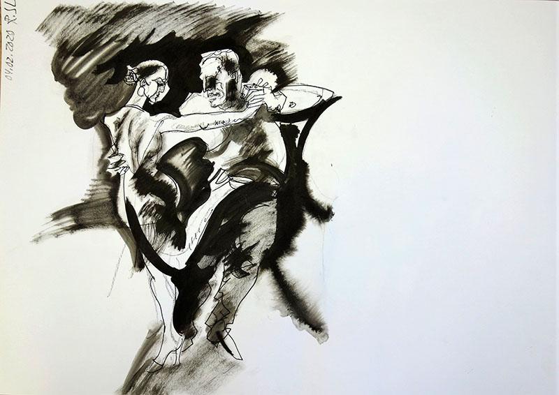 2020, Kreide, Tusche auf Papier, 42x59,4